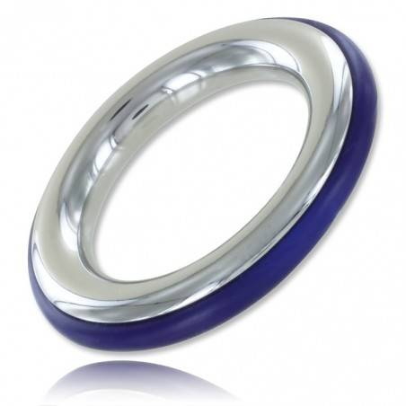 STAINLESS STEEL AND BLUE SILICONE COCKRING ZE CAZZO