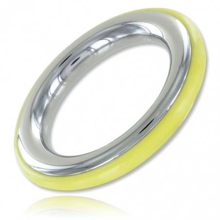 STAINLESS STEEL AND YELLOW SILICONE COCKRING ZE CAZZO