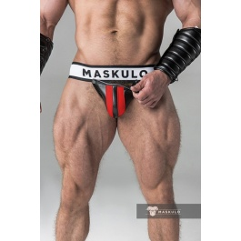 JOCKSTRAP WITH DETACHABLE CODPIECE BLACK AND RED MASKULO