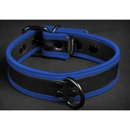 NEOPRENE PUPPY COLLAR BLACK BLUE BY MR S LEATHER