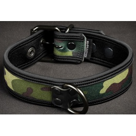 NEOPRENE PUPPY COLLAR BLACK CAMO BY MR S LEATHER