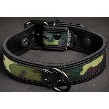 COLLAR DE PERRO EN NEOPRENO NEGRO CAMUFLAJE BY MR?S LEATHER