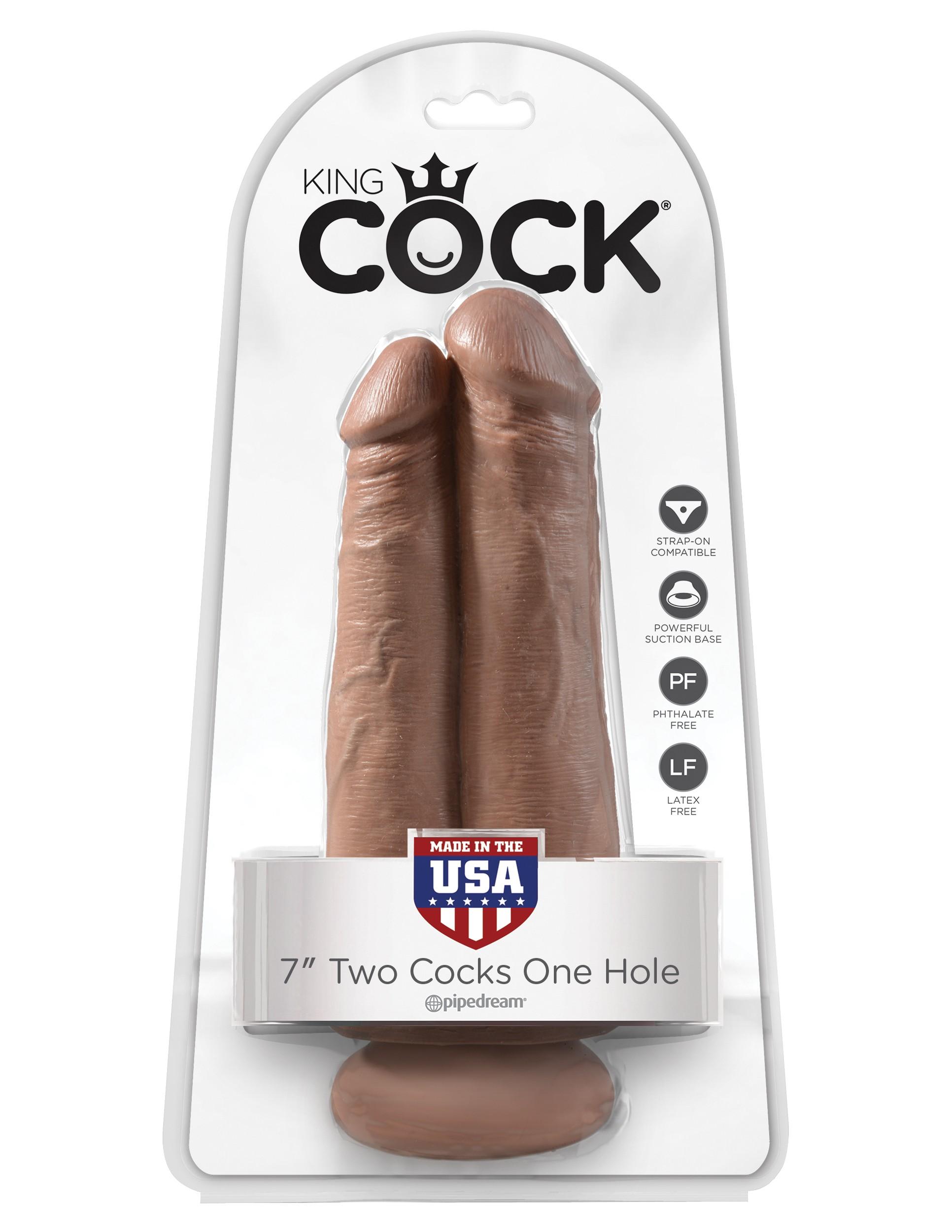 Double gode réaliste 20cm avec ventouse King Cock