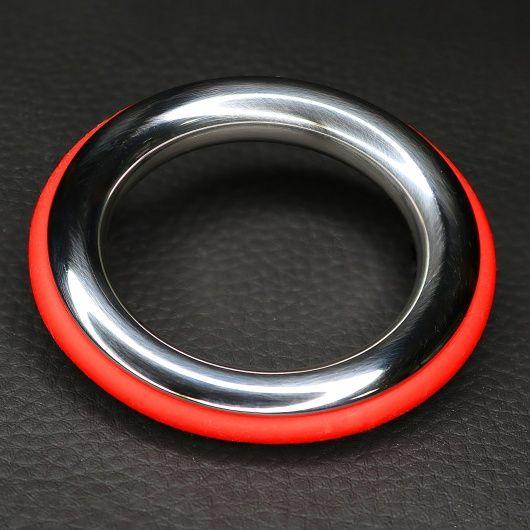 Cockring acier et silicone rouge ze cazzo