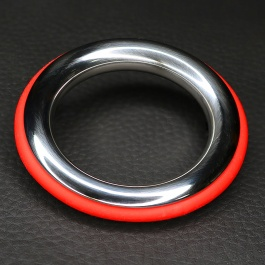Stainless steel and red silicone cockring ze cazzo