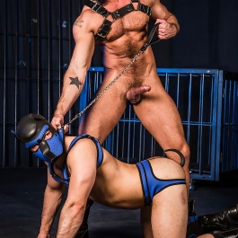 CHAIN LEASH WITH LEATHER GRIP Mr-S-LEATHER