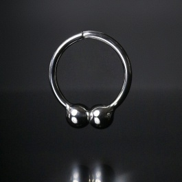 STAINLESS STEEL MAGNETIC COCKRING WITH 2 BALLS ZE BARBEL