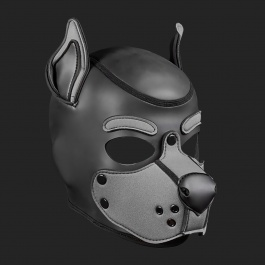 MR S LEATHER NEOPREN PUPPY MASKE K9 GRAU