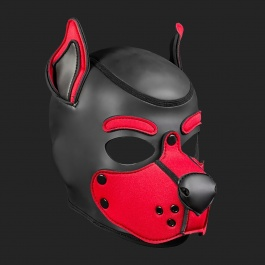 MR S LEATHER NEOPREN PUPPY MASKE K9 ROT