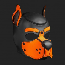 MR S LEATHER NEOPREN PUPPY MASKE K9 ORANGE