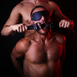 BLACK PVC MOUTH GAG WITH LEATHER STRAP BLACK SPIDER
