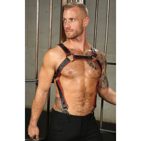 LEATHER PIPED CROSSBOW BODY HARNESS Mr-S-LEATHER