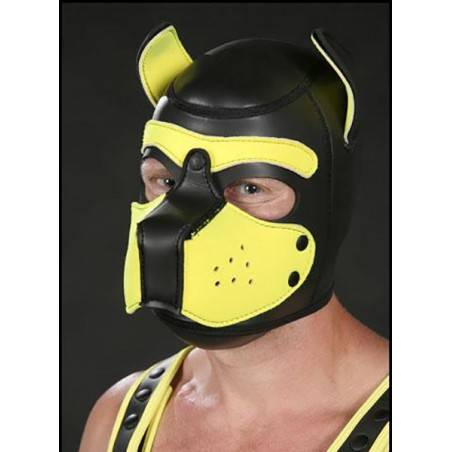 NEOPRENE PUPPY HOOD BLACK/YELLOW by Mr-S-LEATHER