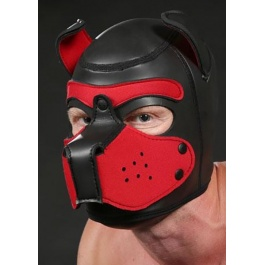 NEOPRENE PUPPY HOOD BLACK/RED by Mr-S-LEATHER