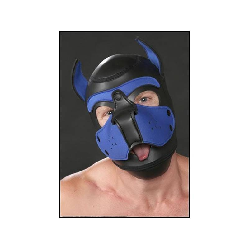 NEOPRENE PUPPY HOOD BLACK/BLUE by Mr-S-LEATHER