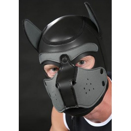 MR S LEATHER MASCARA CABEZA DE PERRO EN NEOPRENO GRIS