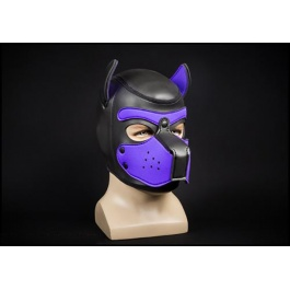 NEOPRENE PUPPY HOOD BLACK/PURPLE by Mr-S-LEATHER