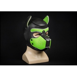 NEOPRENE PUPPY HOOD BLACK/LIME by Mr-S-LEATHER