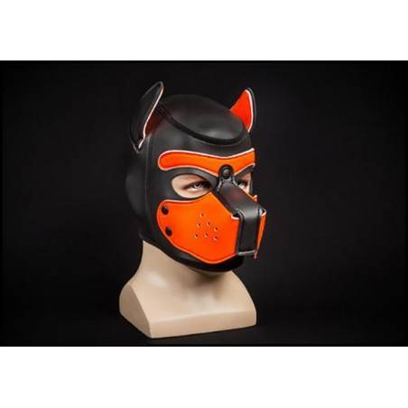 NEOPRENE PUPPY HOOD BLACK/ORANGE by Mr-S-LEATHER