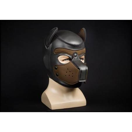 NEOPRENE PUPPY HOOD BLACK/BROWN by Mr-S-LEATHER