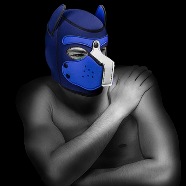 NEOPRENE PUPPY HOOD CUSTOMIZED BLUE/NAVY by Mr-S-LEATHER