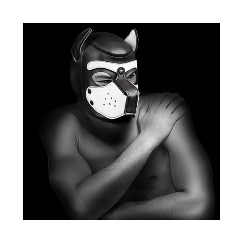NEOPRENE PUPPY HOOD BLACK/WHITE by Mr-S-LEATHER