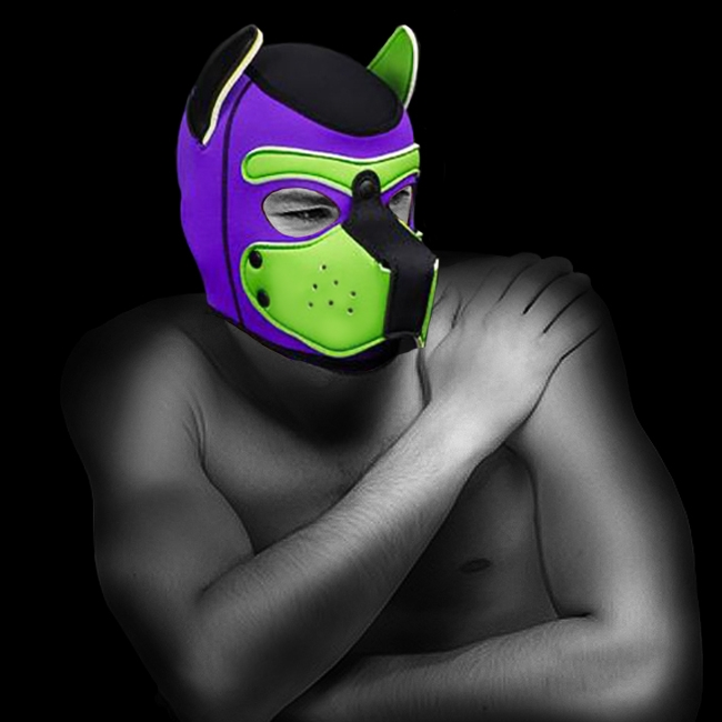 NEOPRENE PUPPY HOOD CUSTOMIZED LIME/PURPLE by Mr-S-LEATHER