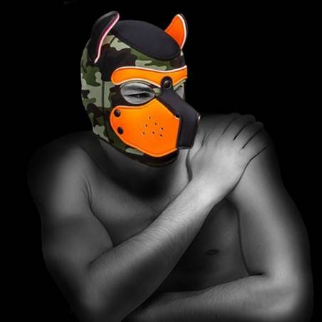 NEOPRENE PUPPY HOOD CUSTOMIZED ORANGE/CAMO by Mr-S-LEATHER