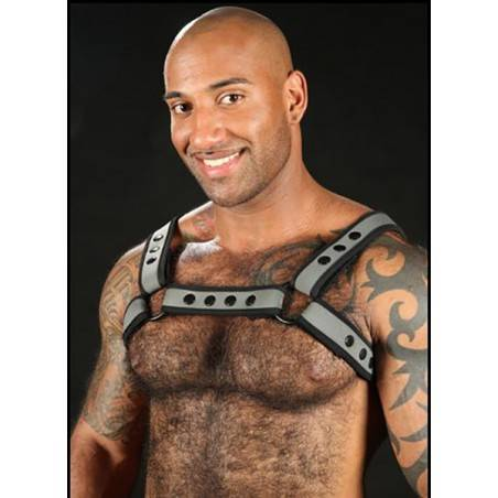 NEOPRENE BULLDOG HARNESS GREY NEO BOLD BY MISTER S