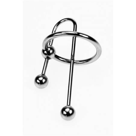 STAINLESS STEEL GLANS RING WITH 60MM URETHRAL SOUND ZE TRIBAL