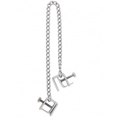 STAINLESS STEEL NIP CLAMPS WITH CHAIN ZE PRESS