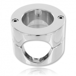 STAINLESS STEEL DOUBLE COCKRING BALLSTRETCHER ZE TOTAL RING BY DARK LINE
